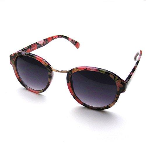 Emblem Eyewear Vintage Inspired Womens Round Horned Rim Wayfarer Floral Sunglasses (Red)