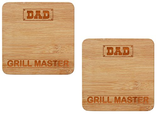 r Dad Grill Master Grilling Gifts Cook Out BBQ Tools Trivet Set 2-Pack Wooden Hot Pads ()