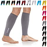 NEWZILL Compression Calf Sleeves (20-30mmHg) for Men & Women - Perfect Option to Our Compression Socks - for Running, Shin Splint, Medical, Travel, Nursing, Cycling (L/XL, Solid Grey)