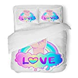 Emvency Bedding Duvet Cover Set Queen (1 Duvet Cover + 2 Pillowcase) Equal Love Inspirational Gay Pride with Rainbow Spectrum Colors Homosexuality Emblem Hotel Quality Wrinkle and Stain Resistant