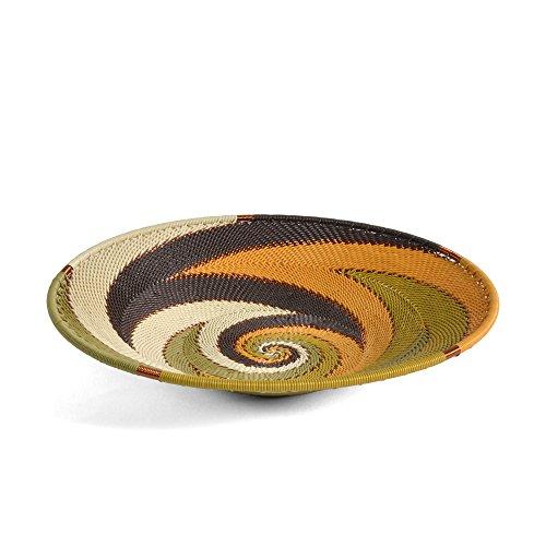Bridge for Africa Fair Trade Zulu Telephone Wire 8-inch Platter Basket, African Earth