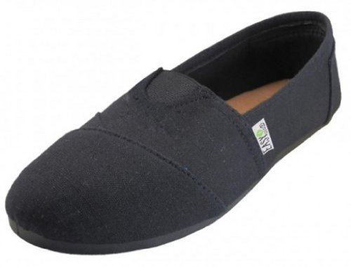 EasySteps Women's Canvas Slip-On Shoes with Padded Insole, All Black, 8 B(M) US (Shoes Black Canvas)