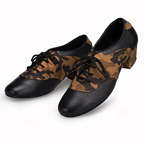 Minishion Heren Moderne Lederen Stoffen Latin Dansschoenen Bruin
