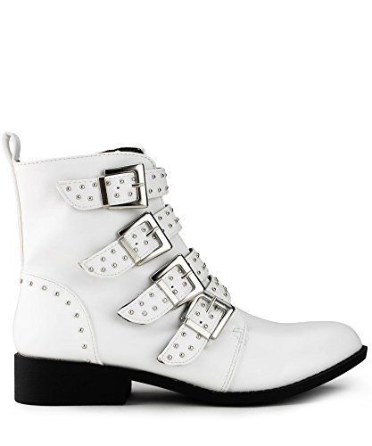 RF ROOM OF FASHION Women's Studded Buckled Strap Moto Ankle Boots | Trendy Low Stacked Heel Comfortable Booties