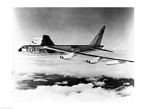 Side Profile of a Bomber Plane in Flight, B-52 Stratofortress, US Air Force Art Print, 27 x 20 inches