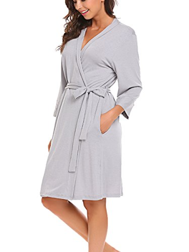 BLUETIME Women's Pure Colour Short Cotton Kimono Robes with Oblique V-Neck (XL, Gray)
