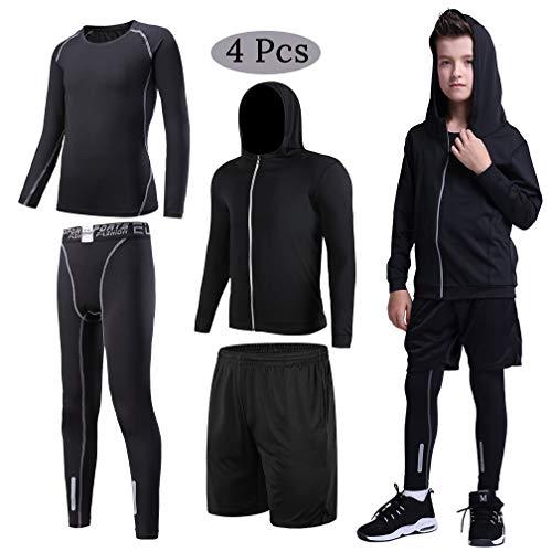 (Kids Sport 4PCS Suit Full Zip Hoodie Jacket Black Shorts w Compression T Shirts & Leggings Thermal Base Layer Set Grey)