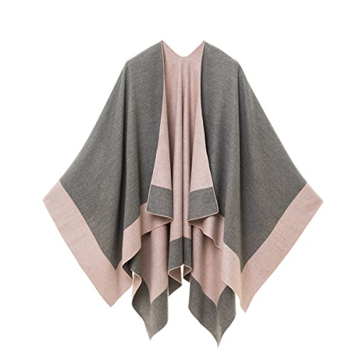 Cardigan Poncho Cape: Women Elegant Pink Gray Cardigan Shawl Wrap Sweater Coat for Winter (Gray - London Plaid Pink