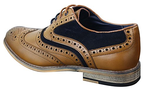 Véritable Richelieu Et Style Chaussures Cuir Gatsby bleu Homme Rétro Clair Daim Look Marron Marine Décontracté Chic qqpw8C
