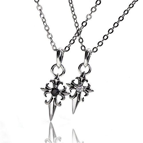 VELVY Silver 925 Dagger Cross Couples Pair Pendant Necklace Men's Women's (with paper bag BOX) tb323 by VELVY
