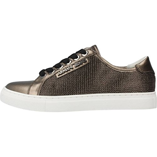 Armani Jeans Metallic Mesh Lace Up Donna Sneaker Metallico
