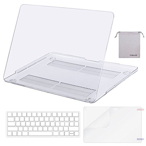 Mosiso MacBook Pro 13 Case 2017 & 2016 Release A1706/A1708, Plastic Hard Case Shell with Keyboard Cover with Screen Protector with Storage Bag for Newest MacBook Pro 13 Inch, Crystal Clear (Cover Clear Shell)
