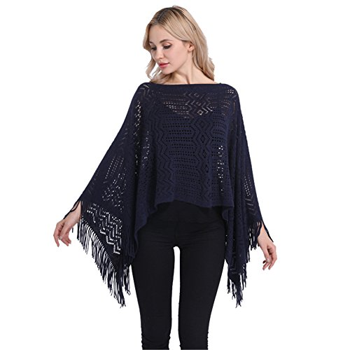SherryDC Women's Lightweight Crochet Knit Hollow Out Tassel Hem Poncho Sweater Pullover Shawl