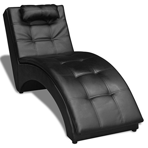 Artificial Leather Black Chaise chair Lounge with Pillow by Daonanba