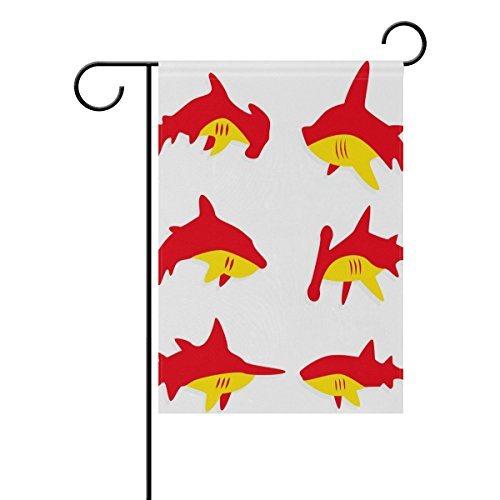 """LEISISI Red And Orange Shark Garden flag 12""""X18"""" Two Sided Y"""