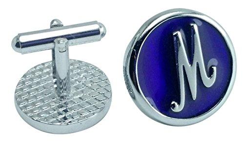 Price comparison product image Impala Enamel Letter Initial Violet Blue Mens Free Gift Fashion Tie Pin Clip Shirt Alphabet M Cuff Links