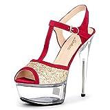 NNHLPO& Silver Glitter Women Sandal Spike High Heels Summer Shoes Platform Heels Womens Platform Heel Sandals Women Luxury White 5.5