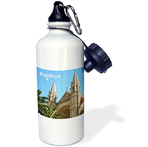 3dRose wb_155684_1 ''Majorca church with palm trees-Spanish Cathedral of Santa Maria of Palma-religious La Seu Spain'' Sports Water Bottle, 21 oz, White by 3dRose
