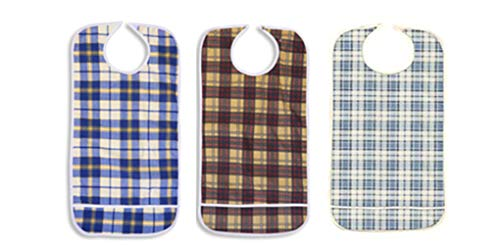 3 Pack Vinyl Backing Adult Bibs with Crumb Catcher and Velcro Closure - Plaid Prints
