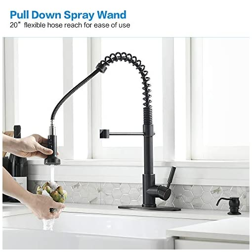 Farmhouse Kitchen Kitchen Faucet with Soap Dispenser-Bokaiya Oil Rubbed Bronze Kitchen Faucet with Pull Down Sprayer Spring Single Handle… farmhouse sink faucets