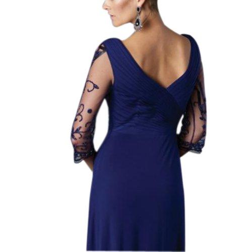 bodenlangen Blau Chiffon Abendkleid Mantel Mutter BRIDE der Braut V Spalte GEORGE Ausschnitt 4wPzxw