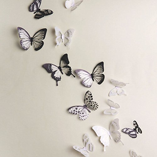 StaiBC 18pcs DIY 3D Butterfly Wall Stickers Art Decal PVC Butterflies