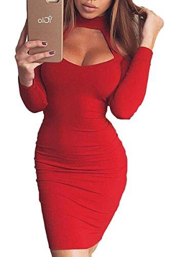 Prograce Ladies Long Sleeve Autumn Halter V Neckline Stretch Bodyon Dresses Red S