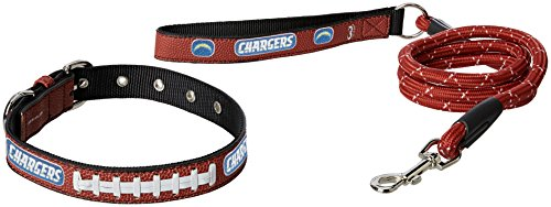 NFL San Diego Chargers Pebble Grain Football Collar & Large Leash Gift Pack, Medium, Brown (Dog Chargers San Collar Diego)