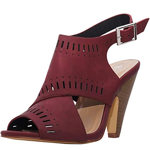 - Charles Albert Open Toe Cut Out Booties - Ladies Stacked Heel Laser Cut Boot (7 M US, Burgundy)