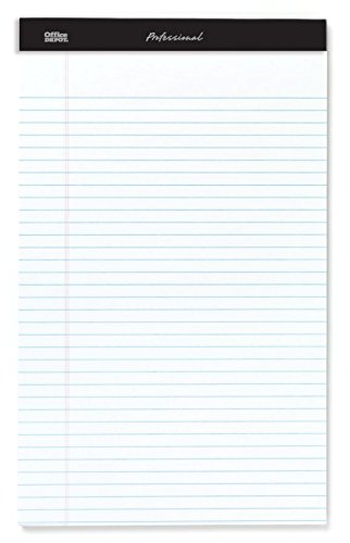 Office Depot Professional Legal Pad, 8 1/2in. x 14in, White, Legal Ruled, 50 Sheets, 4 Pads/Pack, 99490