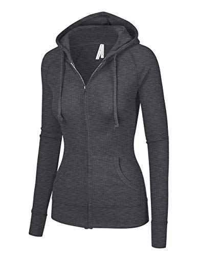 ViiViiKay Womens Casual Warm Thermal Knitted Solid Zip-up Hoodie Thin Jacket Charcoal