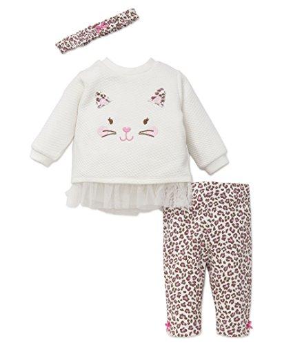 Cotton Leopard Legging Set (Little Me Baby Girls' 3 Piece Legging Set With Headband, Leopard, 12 Months)