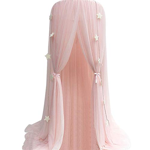 Hoomall Mosquito Net Bed Canopy Round Lace Dome Princess Play Tent Bedding for Baby Kids Children's Room 240cm (Pink New)