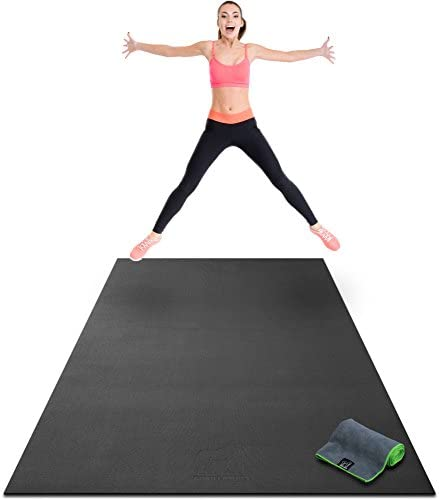 Premium Extra Large Exercise Mat – 8 x 4 x 1 4 Ultra Durable, Non-Slip, Workout Mats for Home Gym Flooring – Jump, Cardio, MMA Mats – Use with or Without Shoes 96 Long x 48 Wide x 6mm Thick
