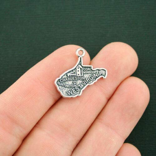 4 West Virginia State Map Charms Antique Silver Tone 2 Sided - SC7501 DIY Jewelry Making Supply for Charm Pendant Bracelet by Charm Crazy -