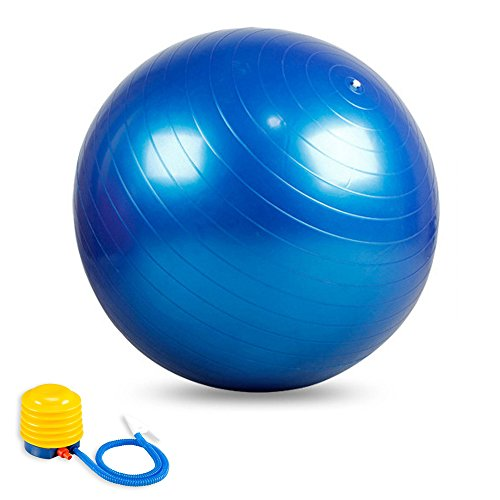 Anti-Burst Core Exercise Ball with Pump for Yoga, Balance, Workout, Fitness- 65cm (Blue)