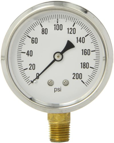 "PIC Gauge S201L-254G 2.5"" Dial, 0/200 psi Range, 1/4"" Male NPT Connection Size, Bottom Mount Single Scale Glycerine Filled Pressure Gauge with a Stainless Steel Case, Brass Internals, Stainless Steel Bezel, and Polycarbonate Lens"