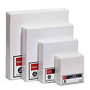 Madisi Painting Canvas Panels Multi Pack, 4×4, 6×6, 8×8, 10×10(12 of Each), 48 Pack