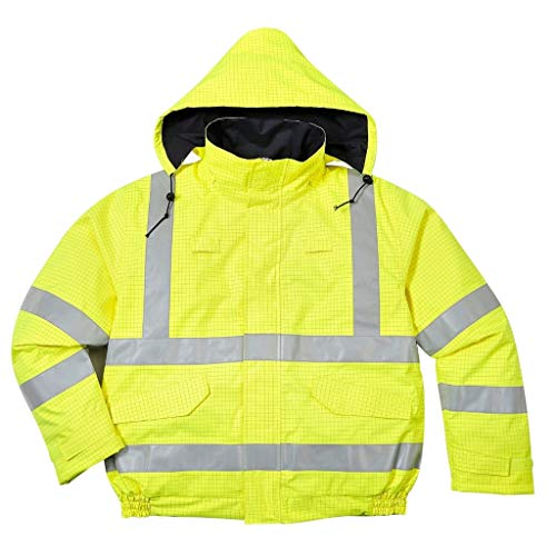 Brite Safety BizFlame Hi Vis Rain Jacket Anti-Static FR Bomber Jackets - Fire Resistant Clothing for Men and Women (Yellow,XL)