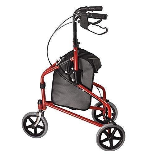 Dr. Franklyn's 3-Wheel Rollator with Pouch - Lightweight Medical Walker w/Comfort Handles for Mobility & Transport Aid - Ideal for Elderly & Handicap (Burgundy)