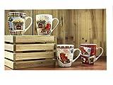 All For You X972 Christmas New Bone China Mug with Christmas Gift Prints, Christmas Tree, Christmas Socks, Furnace -Set of 4, 12 Oz, Gift Box (X972)