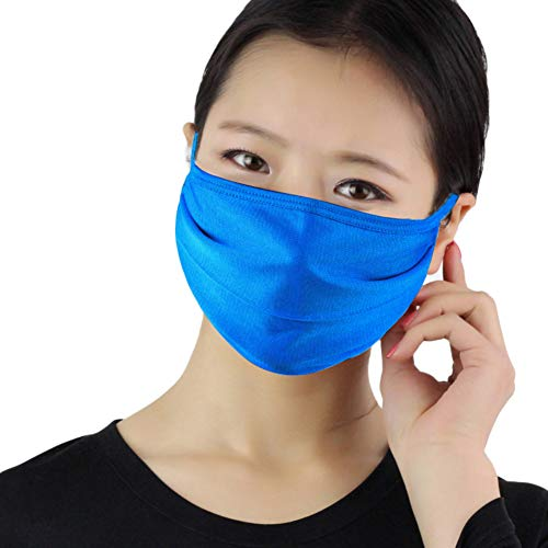 Fenfangxilas Fashion Unisex Mouth Face Cover Dust Proof Anti Droplet Washable Reusable Double Layer Silk Thin Face Mouth Safety Face for Dust Protection – Sapphire Blue