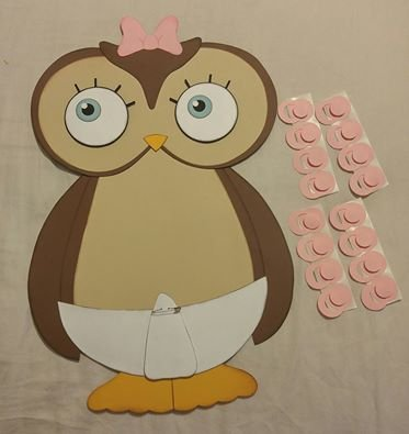Pin the Binky on the Owl Girl Baby Shower