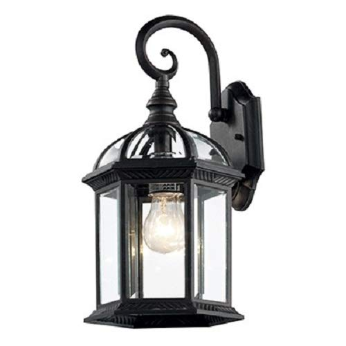 Y Decor EL52VB-4181 Modern, Transitional, Traditional Exterior Outdoor Wall Scone 1 Black Matte with Clear Glass By Y Décor, Black For Sale