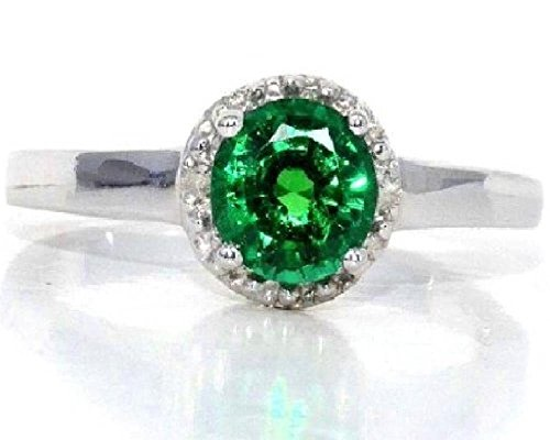 1 Ct Emerald & Diamond Round Ring .925 Sterling Silver