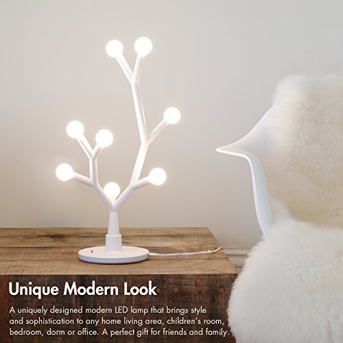 Tenergy Lumi Bloom 8W 750LM Decorative Lamp, LED DIY Table Lamp with Creative Branches, Modern Lamp with 8 Warm White Bulbs for Office/Bedroom/Living Room