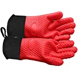 Bozoa Heat Resistant BBQ Cooking Gloves/Insulated Silicone Oven Mitts by SBDW with Protective Lining for Grilling Hand Wrist Protection Kitchen Supplies