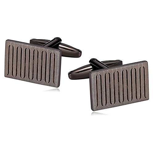 r Men Suitable for Business Anniversary Wedding Stainless Steel Ribbed Rectangle Cuff Links Gun Black ()