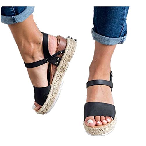 Cenglings Espadrilles Sandals,Women Open Toe Slip On Platform Sandals Buckle Strap Wedges Shallow Beach Shoes Black