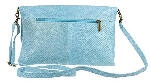Clutch Suede Folded Handbags Bag Blue Light Snake Print Girly Italian wq1Y6Yg